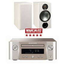 Marantz Melody X MCR612 HiFi Network System Silver Gold with Monitor Audio Bronze 2 Speakers in White Ash