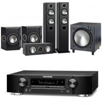 Marantz NR1609 Black 7.2 Channel AV Receiver Monitor Audio Bronze 5 AV 5.1 Speaker package Black Oak