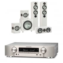 Marantz NR1609 Silver AV Receiver with Monitor Audio Bronze 5 AV 5.1 Speaker package White Ash