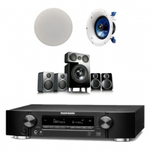 Marantz NR1710 7.2Ch AV Receiver Black with Wharfedale DX-2 5.1 Speaker Package Black and Yamaha Pair NSIC600 Ceiling Speakers
