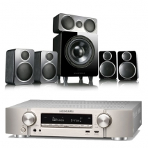 Marantz NR1710 Slim 7.2Ch AV Receiver Silver with Wharfedale DX-2 5.1 Speaker Package Black