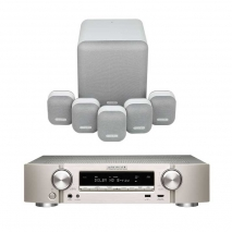 Marantz NR1509 Silver 5.2 Channel AV Receiver with Monitor Audio Mass 5.1 Gen 2 Surround Sound Speaker System in Mist White