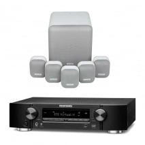 Marantz NR1609 Black 7.2 Channel AV Receiver with Monitor Audio Mass 5.1 Gen 2 Surround Sound Speaker System in Mist White