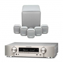 Marantz NR1609 Silver AV Receiver with Monitor Audio Mass 5.1 Gen 2 Surround Sound Speaker System in Mist White
