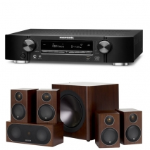 Marantz NR1710 Slim 7.2Ch 4k Ultra HD AV Receiver with Monitor Audio Radius R90HT1 5.1 Speaker Package - Walnut