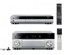 Yamaha RXA1040 7.2 Channel 4K AVENTAGE AV Receiver with WiFi in Titanium with Yamaha BDA1040 3D Blu-Ray Player with WiFi and Bluetooth in Titanium