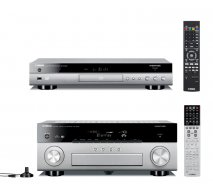 Yamaha RXA840 7.2 Channel 4K AVENTAGE AV Receiver Titanium with Yamaha BDA1040 3D Blu-Ray Player with WiFi and Bluetooth in Titanium