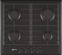 Neff T22S36S0 60cm Gas Hob in Black with Cast Iron Pan Supports