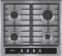 Neff T23S36N0GB 60cm Gas Hob in Stainless Steel with Black Glass Control Panel