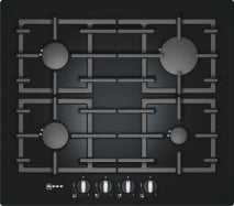 Neff T62S26S1 60cm Gas on Glass Hob in Black with Cast Iron Pan Supports