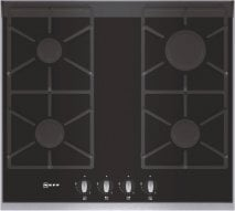 Neff T66S66N0 60cm Gas on Glass Hob with Stainless Steel Trim and Cast Iron Pan Supports