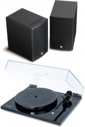 Flexson VINYL PLAY Turntable with Q Acoustics BT3 Wireless Speakers in Gloss Black