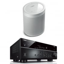 Yamaha MusicCast RXV685 7.2 Channel AV Receiver in Black with Yamaha MusicCast 20 Speaker in White