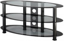 Alphason ATO800 Atoll Oval Universal Stand in Black with Grey Glass for Screens up to 37''