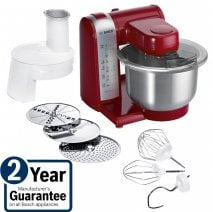 Bosch MUM48R1GB 600W Food Mixer in Red with Stainless Steel bowl and accessories