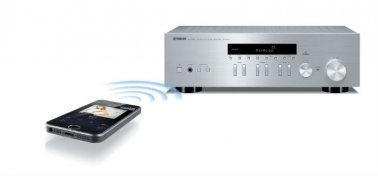 Yamaha RN301S Network Receiver with AirPlay compatibility in Silver remote