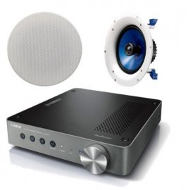 Yamaha WXA-50 Wireless Streaming Amplifier with 1 Pair of Yamaha NSIC800 In-Ceiling Speakers