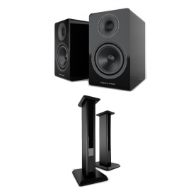 Acoustic Energy AE300 Piano Gloss Black Speakers And Matching Stands