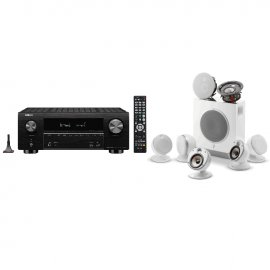 Denon AVRX3500H AV Receiver 3 Year Warranty in Black with Focal Dome Flax 5.1.2 Home Cinema System in White