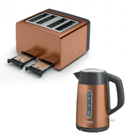 Bosch TWK4P439GB Kettle and Bosch TAT4P449GB 4 Slice Toaster in Copper