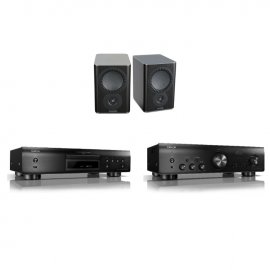 Denon DCD800NE CD Player With PMA800NE Integrated Amplifier And Mission QX 2 Bookshelf Speaker Pair In Black