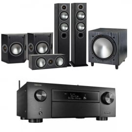 Denon AVCX6500H Black AV Receiver Black with Monitor Audio Bronze 5 AV 5.1 Speaker package Black Oak