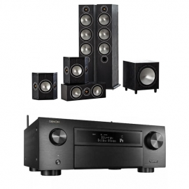 Denon AVCX6500H Black AV Receiver Black with Monitor Audio Bronze 6 AV 5.1 Speaker package Black Oak