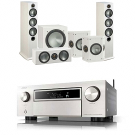 Denon AVCX6500H AV Receiver Silver with Monitor Audio Bronze 6 AV 5.1 Speaker package White Ash