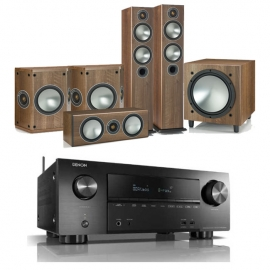 Denon AVRX2500H AV Receiver with Monitor Audio Bronze 5 AV 5.1 Speaker package Walnut