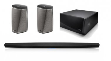 Denon HEOS Bar 5.1 Home Theatre Package with HEOS Subwoofer and HEOS 1 HS2 Wireless Speakers Black
