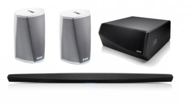 Denon HEOS Bar 5.1 Home Theatre Package with HEOS Subwoofer and HEOS 1 HS2 Wireless Speakers White