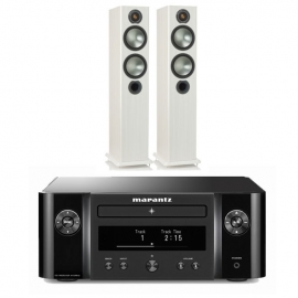 Marantz Melody X MCR612 HiFi Network System Black with Monitor Audio Bronze 5 Speakers White Ash