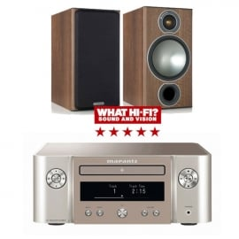 Marantz Melody X MCR612 HiFi Network System Silver Gold with Monitor Audio Bronze 2 Speakers in Walnut