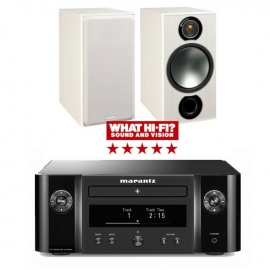 Marantz Melody X MCR612 HiFi Network System Black with Monitor Audio Bronze 2 Speakers in White Ash