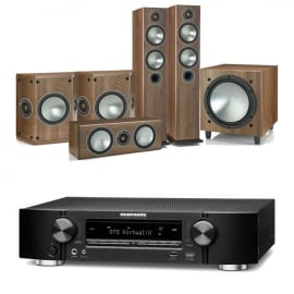 Marantz NR1609 Black 7.2 Channel AV Receiver with Monitor Audio Bronze 5 AV 5.1 Speaker package Walnut