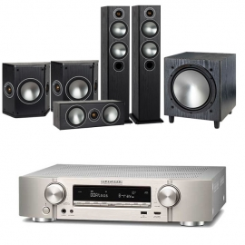 Marantz NR1609 Silver AV Receiver with Monitor Audio Bronze 5 AV 5.1 Speaker package Black Oak