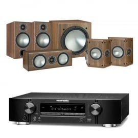 Marantz NR1609 Black 7.2 Channel AV Receiver with Monitor Audio Bronze 2 AV 5.1 Speaker package Walnut