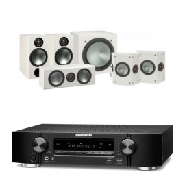 Marantz NR1609 Black 7.2 Channel AV Receiver with Monitor Audio Bronze 2 AV 5.1 Speaker package White Ash