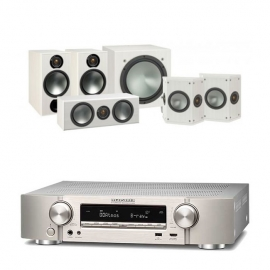 Marantz NR1609 Silver AV Receiver with Monitor Audio Bronze 2 AV 5.1 Speaker package White Ash