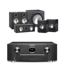 Marantz SR6013 Black AV Receiver with Monitor Audio Bronze 2 AV 5.1 Speaker package Black