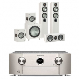 Marantz SR6013 Silver AV Receiver Black with Monitor Audio Bronze 5 AV 5.1 Speaker package White Ash