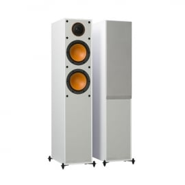 Denon DM41 RCDM41DAB Micro Hi-Fi CD Receiver in Silver with Monitor Audio Monitor 200 Floorstanding Speakers in White