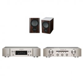 Marantz NA6006 Network Audio Player Streamer with Marantz PM6006 UK Edition Amplifier in Silver and Mission QX-2 Bookshelf Speaker Pair in Walnut
