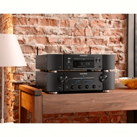 Marantz PM8006 HiFi Amplifier with ND8006 Network CD Player in Black and Wharfedale Diamond 11.5 Floorstanding Speakers in Black