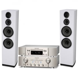 Marantz PM8006 HiFi Amplifier with ND8006 Network CD Player in Silver and Wharfedale Diamond 11.5 Floorstanding Speakers in White