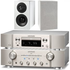 Marantz PM8006 HiFi Amplifier with ND8006 Network CD Player in Silver and Definitive Technology Demand Series D9 Bookshelf Speakers in White