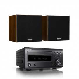 Denon DM41 RCDM41DAB Micro Hi-Fi CD Receiver in Black with Monitor Audio Monitor 50 Bookshelf Speakers in Walnut