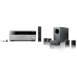Yamaha MusicCast RXV685 7.2 Channel AV Receiver 3 Year Warranty in Titanium with Canton Movie 75 5.1 Surround Sound System in Black