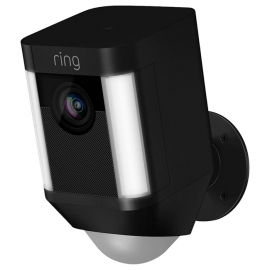 Ring Spotlight Cam Smart Security Camera with Built-in Wi-Fi & Siren Alarm Wired Black