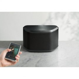 Yamaha WX-030 Wi-Fi Enabled Streaming Speaker with MusicCast in Black in use